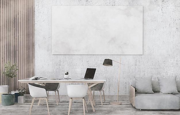 Representación 3d de la habitación interior con computadora portátil