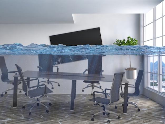 Representación 3d de una habitación moderna inundada