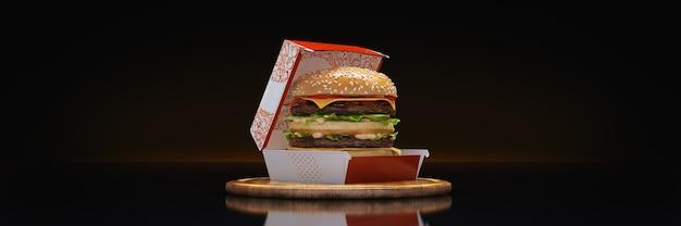 Representación 3d de hamburguesa