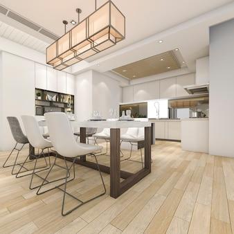 Representación 3d hermosa cocina blanca moderna y comedor