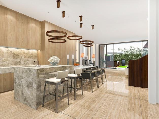 Representación 3d hermosa cocina moderna con barra de comedor
