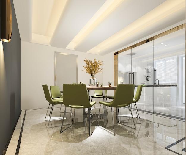 Representación 3d hermosa cocina moderna con zona de comedor