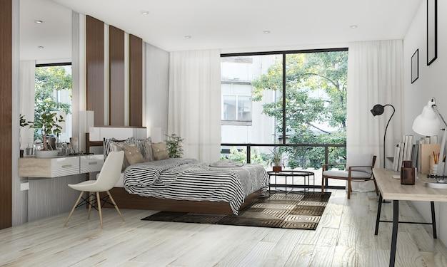 Representación 3d hermosa habitación con bonita decoración cerca de la terraza