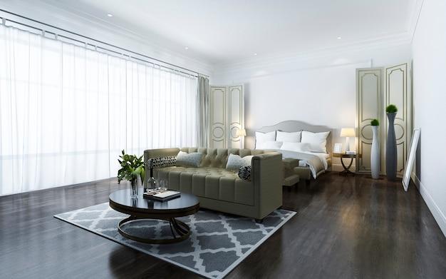 Representación 3d hermosa suite clásica de lujo en el hotel con televisión