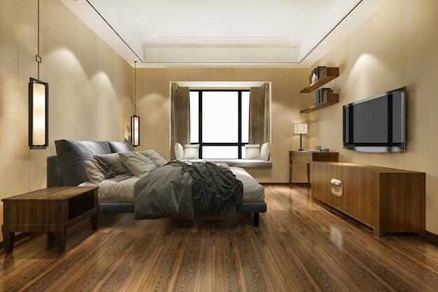 Representación 3d hermosa suite de dormitorio asiático de lujo mínimo en hotel con tv