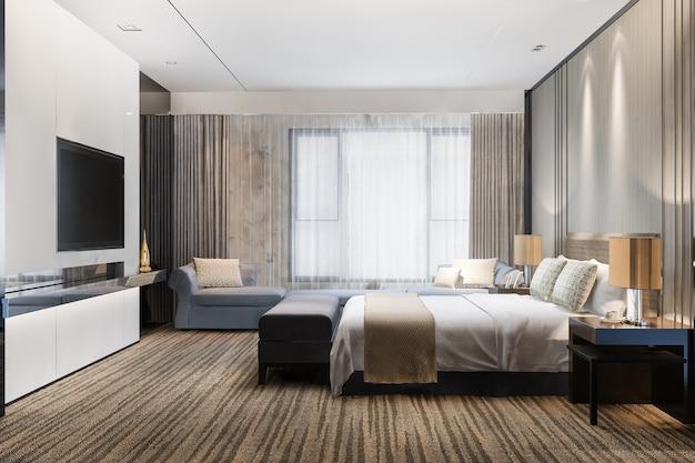 Representación 3d hermosa suite de dormitorio de lujo clásico en hotel con tv