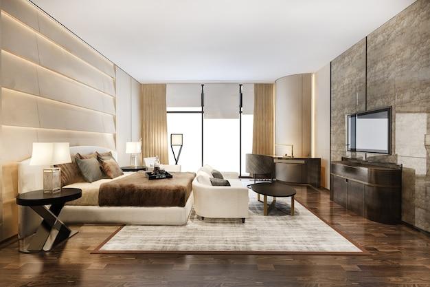 Representación 3d hermosa suite de dormitorio de lujo contemporáneo en hotel con tv y sofá