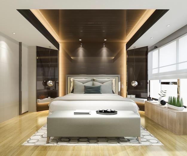 Representación 3d hermosa suite de dormitorio de lujo en el hotel con televisión y espejo negro