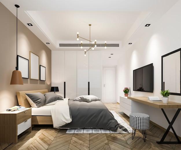 Representación 3d hermosa suite de un dormitorio de lujo en el hotel con televisión y mesa de trabajo