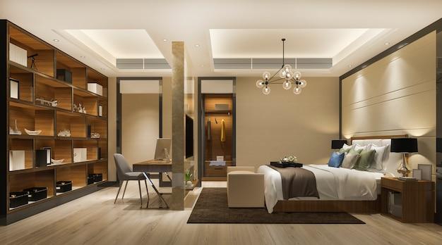 Representación 3d hermosa suite de dormitorio de lujo en el hotel con televisión y mesa de trabajo