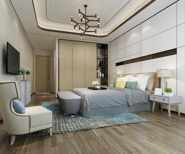 Representación 3d hermosa suite de un dormitorio de lujo en el hotel con televisión