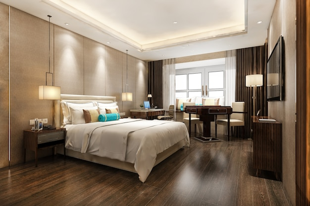 Representación 3d hermosa suite de dormitorio de lujo en hotel con tv y mesa de trabajo