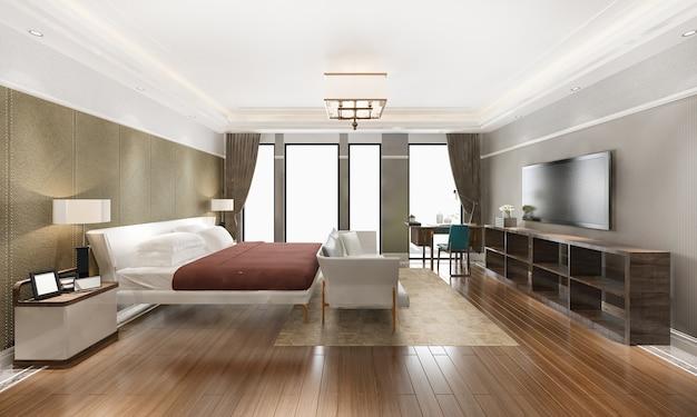 Representación 3d hermosa suite de dormitorio de lujo naranja clásico en hotel con tv