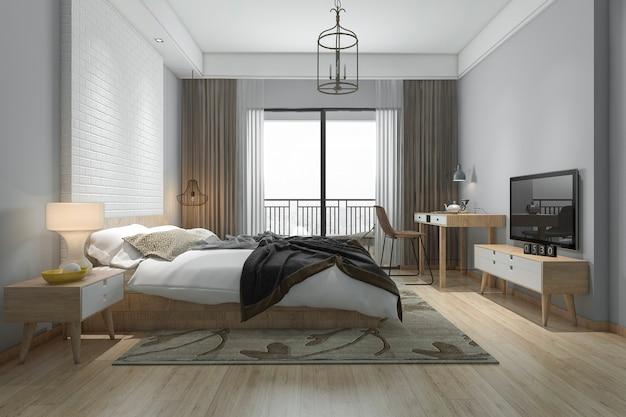 Representación 3d hermosa suite de un dormitorio minimalista en el hotel con tv