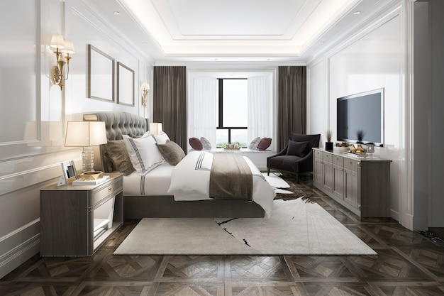 Representación 3d hermosa suite de lujo en el hotel con tv