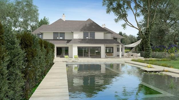 Representación 3d de una hermosa villa grande con piscina y jardín.