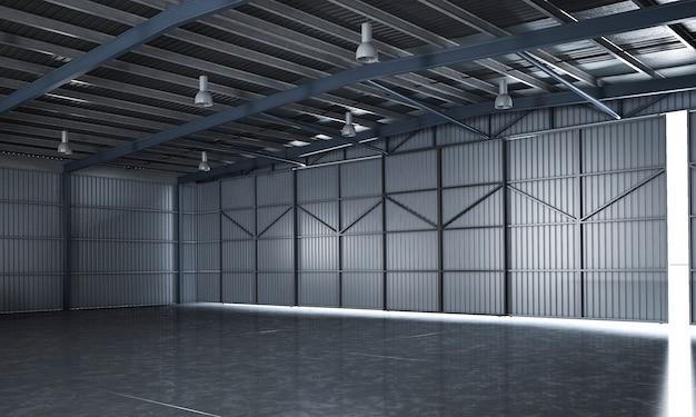 Representación 3d hermoso almacén industrial vacío