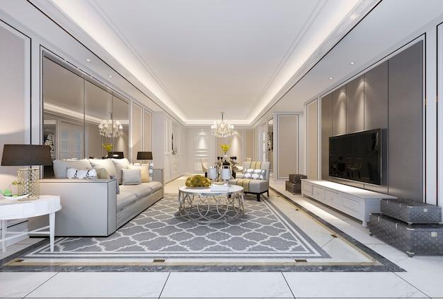 Representación 3d hermoso y moderno comedor y sala de estar con decoración de lujo y sofá de tela cerca del espejo