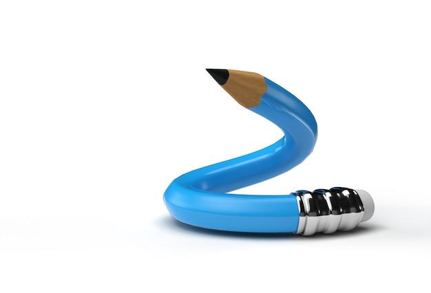 Representación 3d de la herramienta pluma lápiz doblada trazado de recorte creado incluido en jpeg fácil de componer.