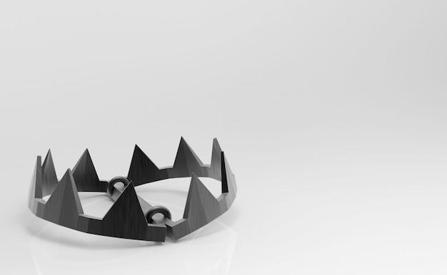 Representación 3d herramienta vacía de la trampa de la quijada de los animales en el fondo blanco.