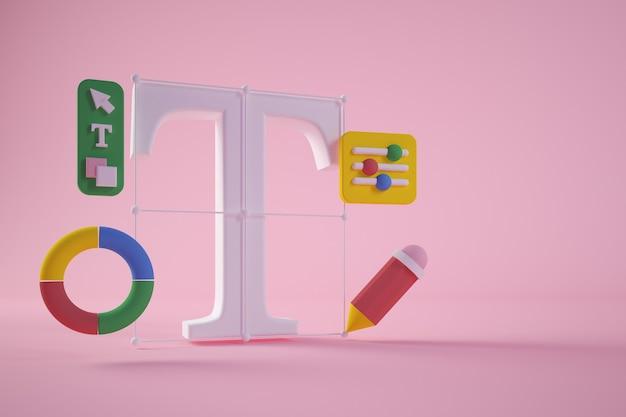 Representación 3d de herramientas de diseño gráfico