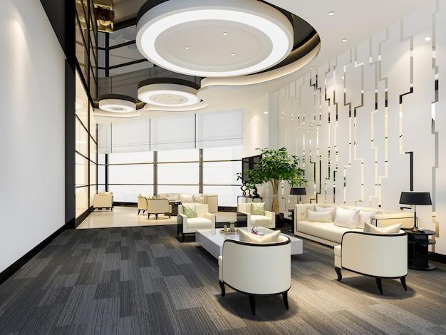 Representación 3d de hotel de lujo y oficina, sala de recepción y salón restaurante