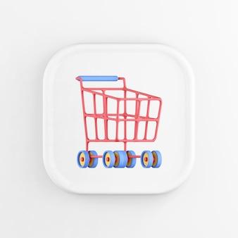Representación 3d icono de botón cuadrado blanco, carro de compras rojo sobre ruedas, aislado sobre fondo blanco.