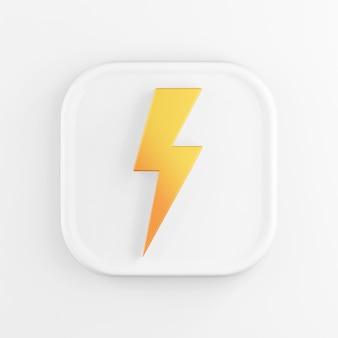 Representación 3d icono de botón cuadrado blanco, rayo amarillo aislado sobre fondo blanco.