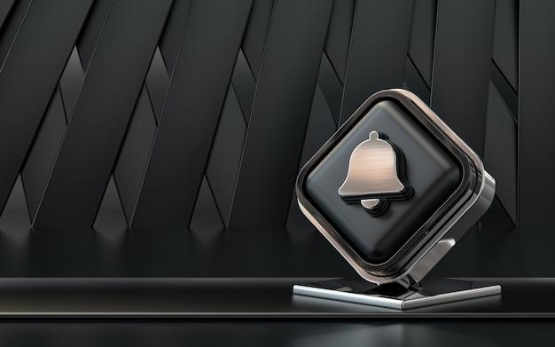 Representación 3d icono de campana banner de redes sociales fondo abstracto oscuro