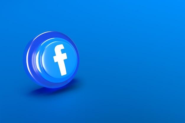 Representación 3d icono de facebook de redes sociales sobre fondo azul