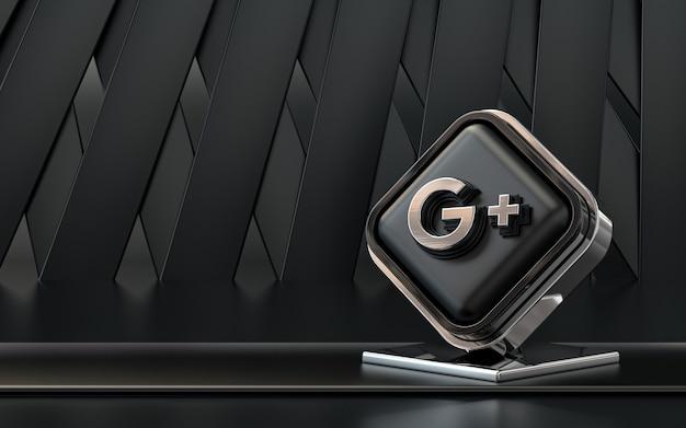 Representación 3d icono de google plus banner de redes sociales fondo abstracto oscuro