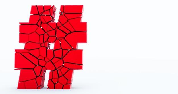 Representación 3d del icono de hashtag agrietado rojo sobre fondo blanco.