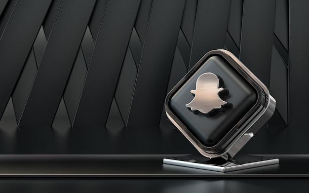 Representación 3d icono de snapchat banner de redes sociales fondo abstracto oscuro