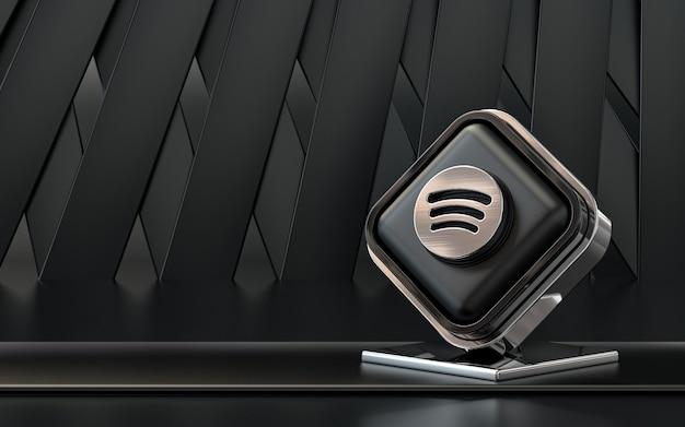 Representación 3d icono de spotify banner de redes sociales fondo abstracto oscuro