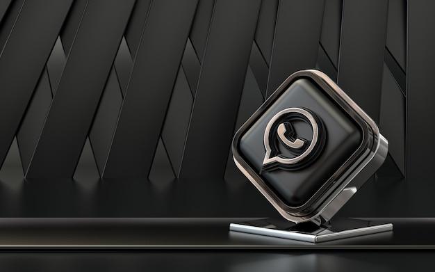 Representación 3d icono de whatsapp banner de redes sociales fondo abstracto oscuro
