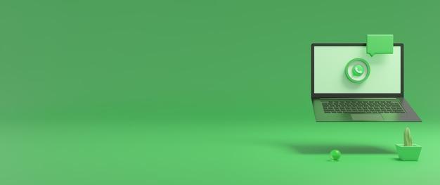 Representación 3d del icono de whatsapp en la pantalla del portátil