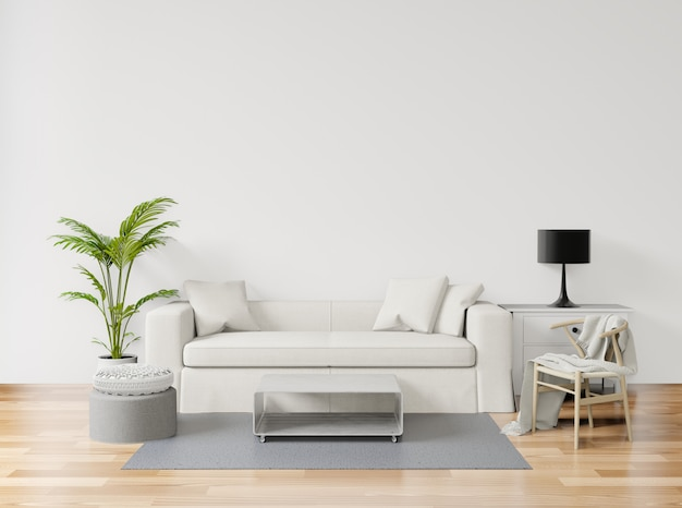 Representación 3d, ilustración 3d, simulacros de póster con fondo minimalista vintage minimalista sala de estar interior, piso de madera