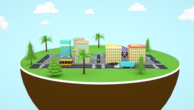 Representación 3d de la ilustración de los edificios de la ciudad en el suelo