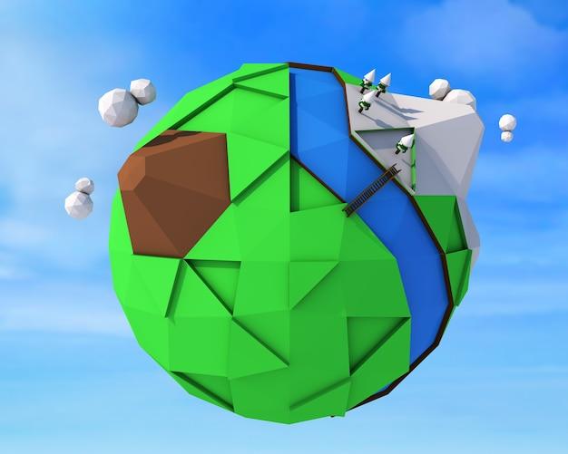 Representación 3d. ilustración de estilo poligonal de la tierra.