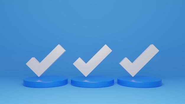 Representación 3d de la ilustración de la marca de verificación