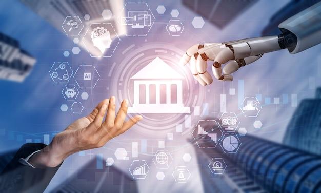 Representación 3d de inteligencia artificial investigación de inteligencia artificial del desarrollo de robots y cyborg para el futuro de las personas que viven