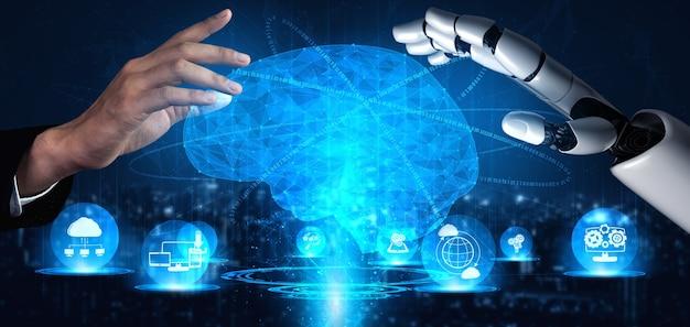 Representación 3d de inteligencia artificial investigación de inteligencia artificial de desarrollo de robots y cyborg