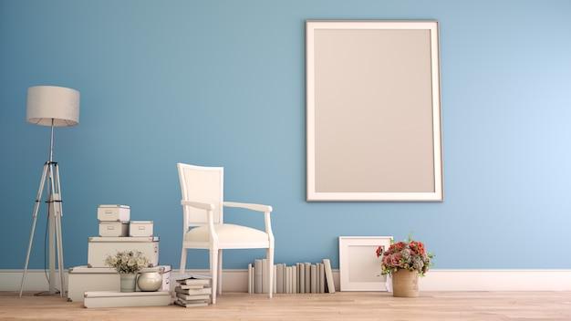 Representación 3d del interior de una casa con un marco de póster simulado