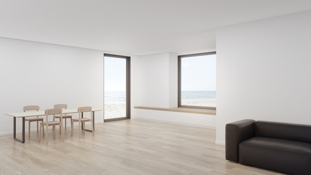 Representación 3d interior casera mínima con vista al mar.