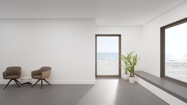 Representación 3d interior casera mínima con vistas a la playa y al mar.