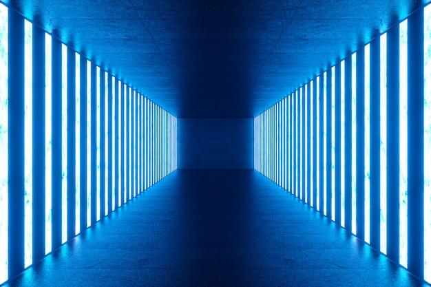 Representación 3d interior de habitación azul abstracto con lámparas de neón azul. arquitectura futurista maqueta para su proyecto de diseño.