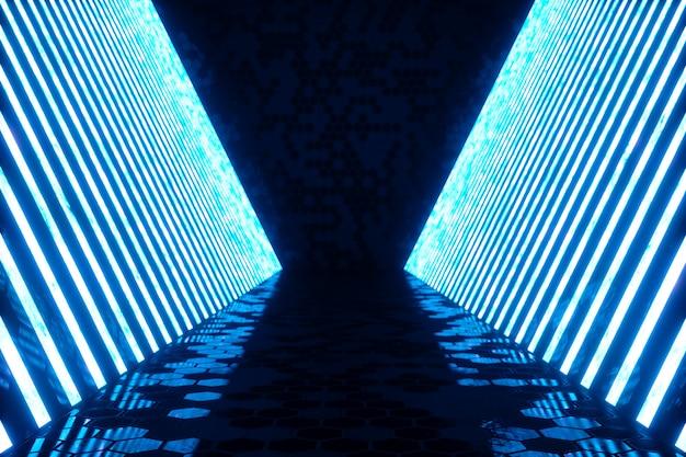 Representación 3d interior de habitación azul abstracto con lámparas de neón azul. fondo de arquitectura futurista. maqueta para su proyecto de diseño.