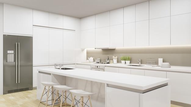 Representación 3d interior del hogar con el contador superior blanco.
