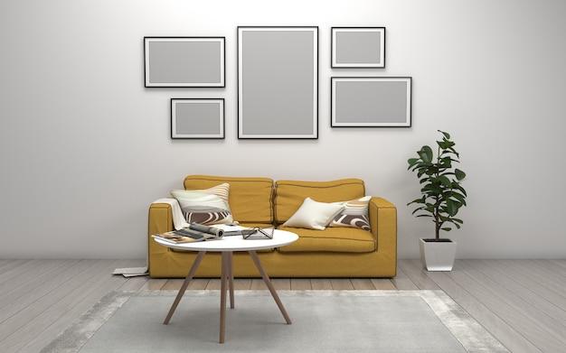 Representación 3d del interior de la sala de estar moderna con sofá - sofá y mesa