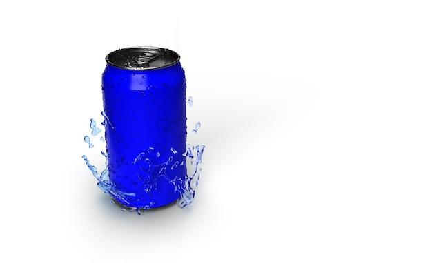 Representación 3d de una lata de refresco azul con gotas de agua sobre él aislado